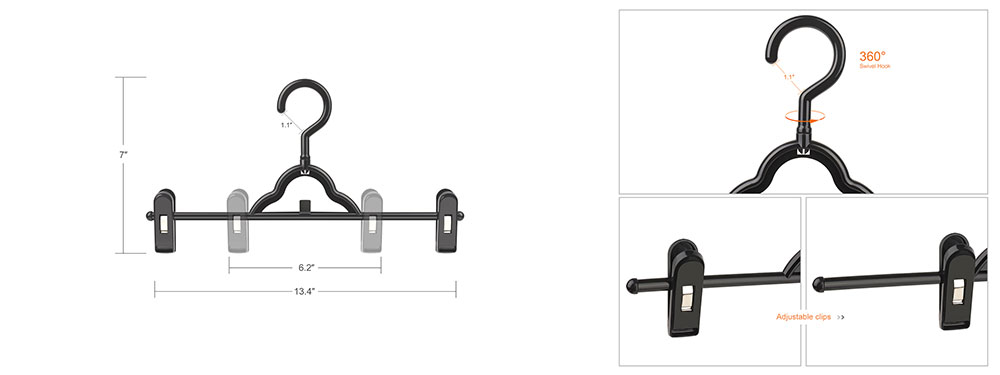 different angles to show your the pants hanger with clips